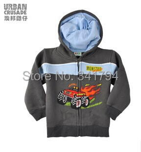 2014 Spring And Autumn Models Boy Coat Plus Velvet Hooded Zipper Children Sweater Pattern Kid Clothes Car Wholesale 5 Pcs(China (Mainland))