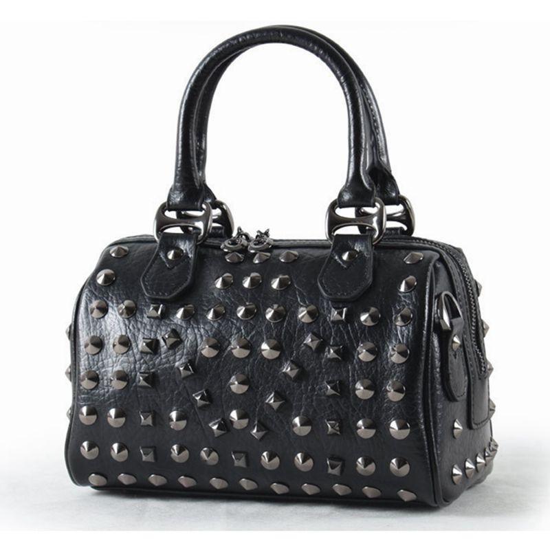 New Design Vintage Rivet Genuine Leather Women Handbags Top Graceful Fashion Shoulder Small Tote Bag Female Bolsas Feminina(China (Mainland))