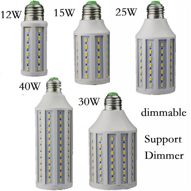 Dimmable 12W 15W 25W 30W 40W LED Lamp E27 E26 B22 E14 B15 Lighting Lampada Support Dimmer LED Light Dimming Corn Bulbs Spotlight(China (Mainland))
