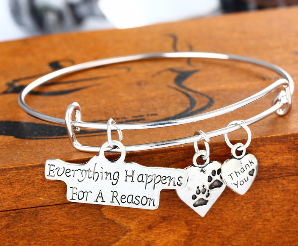 New Bangle Everything Happens For A Reason Dog Paw Print Thank You Heart Charms Bracelet Party Wedding Women Lady Jewelry(China (Mainland))
