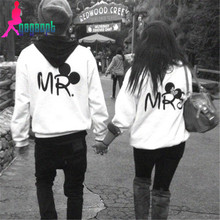 Modno High Quality 2015 Autumn Winter Fashion Print MR and MRS Lovers Hoody Couples Sweatshirts