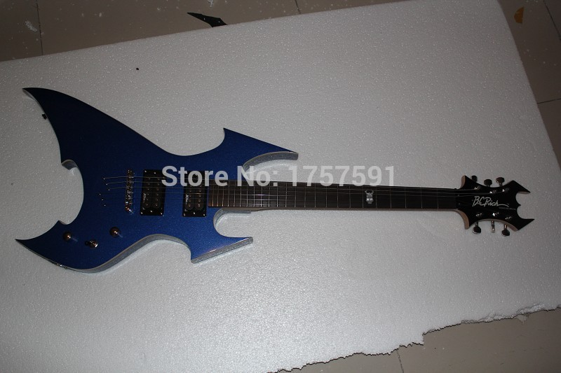 Free shipping high quality Strange Model Nice B.C. Rich Sigmature Special Blue Electric Guitar In Stock !! Free Shipping(China (Mainland))