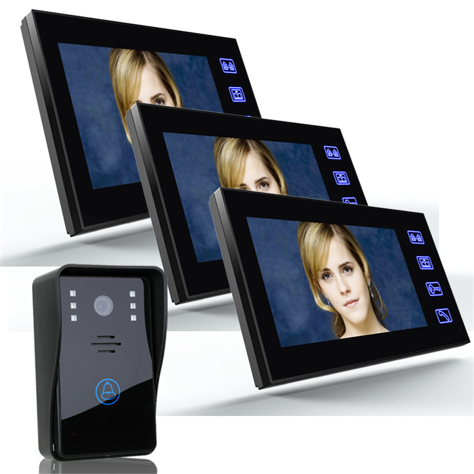 Universal Multi-function 7 Inch Doorbell Video Doorphone Intercom Security CCTV Camera + 3 x Indoor Monitors(China (Mainland))