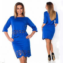 Elegant Sexy 2 piece set summer women dresses big size NEW 2015 plus size women clothing L-6xl dress casual o-neck bodycon Dress