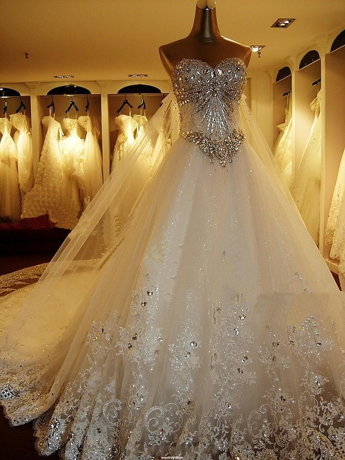 Quality Luxurious Crystal Sparkling Diamond Bling Wedding Dress - Bling Wedding Dresses