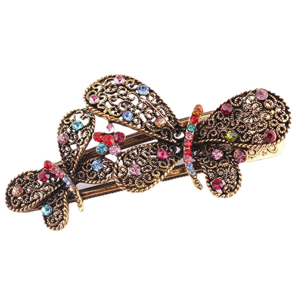 New Style Korean Hair Ornaments-encrusted Retro Palace Double Bow Pointed Beak Hair Stick Two Butterflies Hair Accessories(China (Mainland))