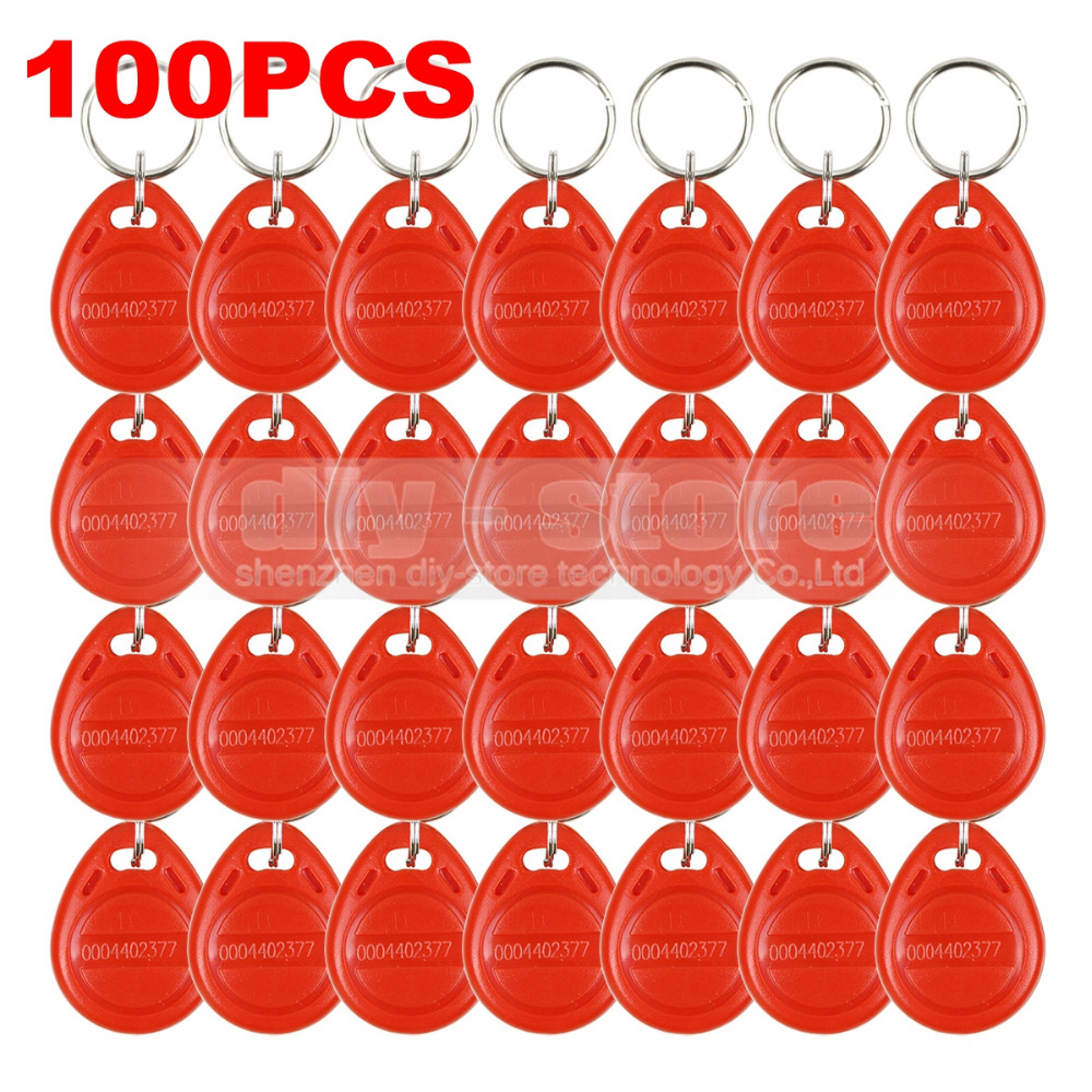 100pcs/lot 125Khz RFID Proximity Card Key Keyfobs For Access Control System RFID Reader Use Red Free Shipping<br><br>Aliexpress