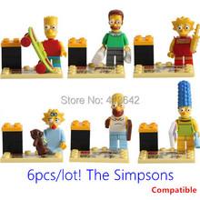 New 6pcs/lot The Simpsons Mini Figures Blocks Toys Simpsons Minifigures Building Block Compatible with leg0 Children Toys