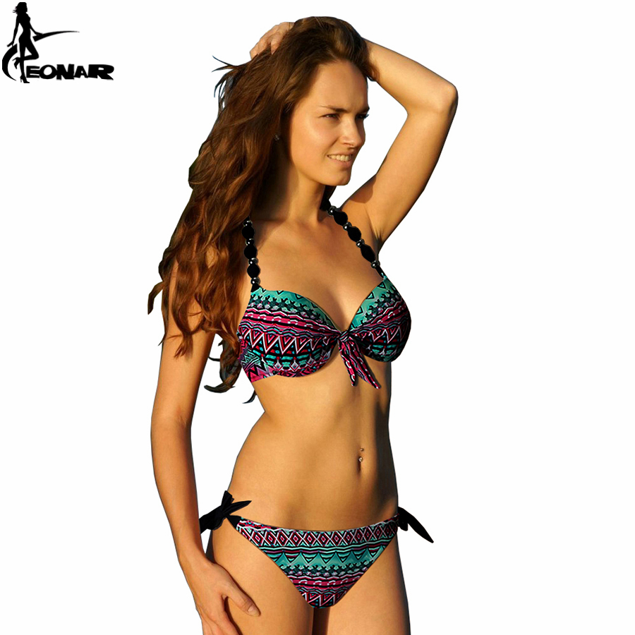 Bikinis Women 2016 Print Halter Bikini Floral Swimsuits Women Brazilian Push Up Bikini Set Bathing Suits Plus Size Swimwear XXL(China (Mainland))