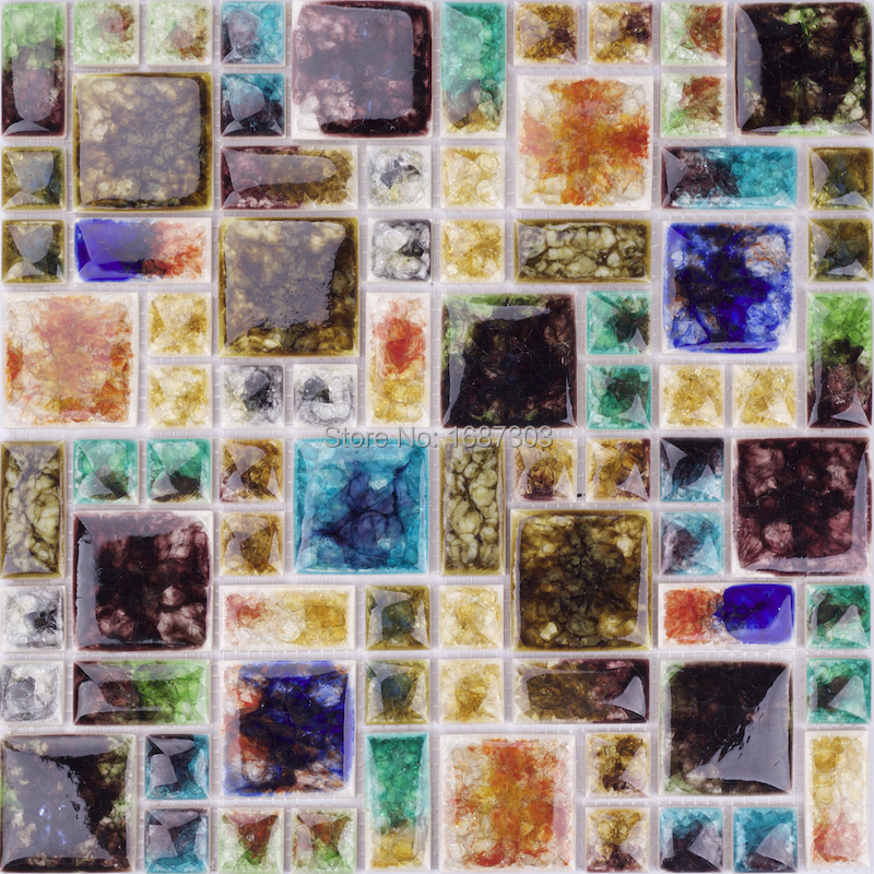 Home Decor Iridescent Fancy Gemstone Glass Art Mosaic Bathroom Wall Tile HBS0
