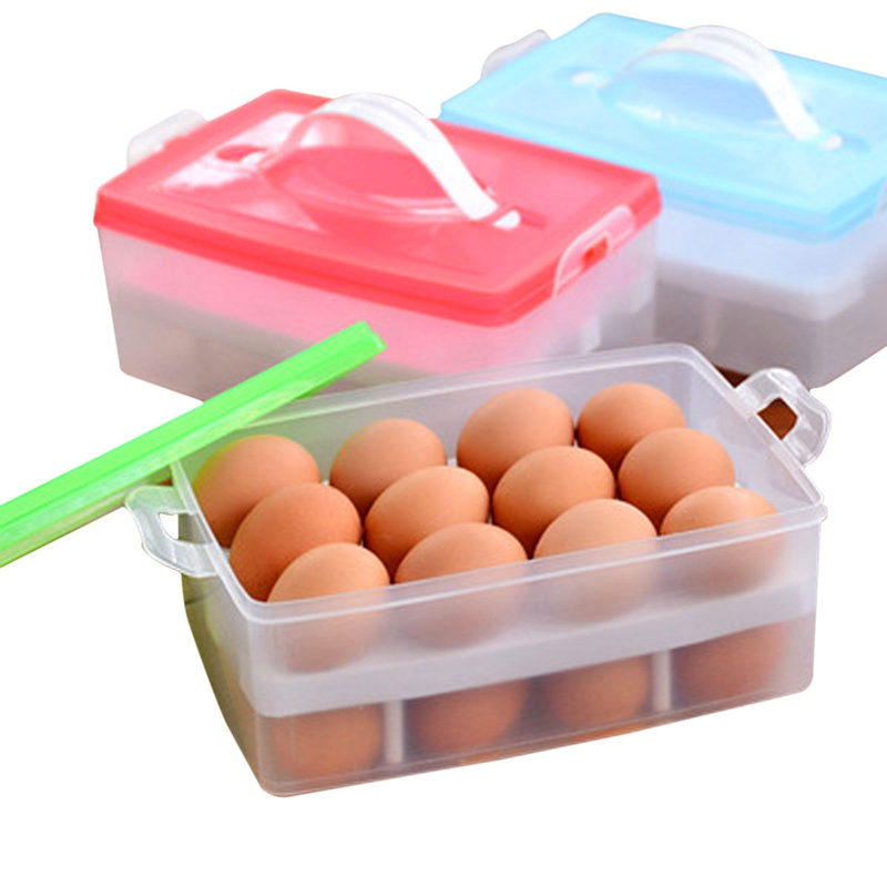 1Pcs/Lot Portable Plastic Refrigerator Crisper Eggs Container Box Double Layer Airtight Storage Bins With Lid 3 Color(China (Mainland))