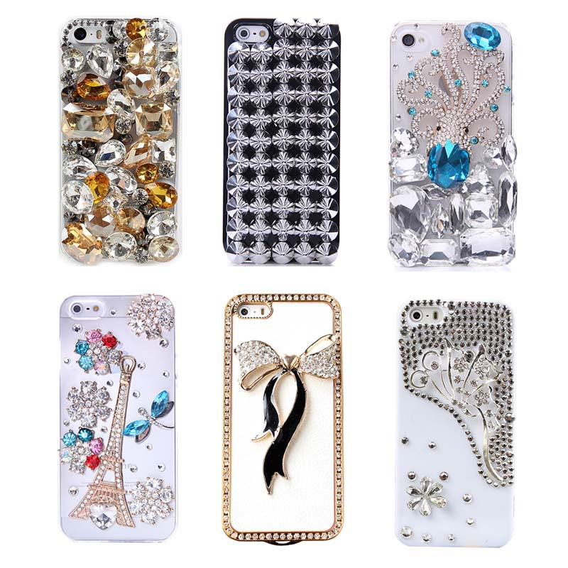 3D Hand Made Phone Cases for iPhone 5 5S Crystal Rhinestone Case Cover Shell Protector Skin for iPhone5s #7(China (Mainland))