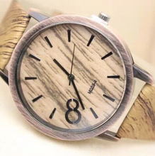 2015 New Women Quartz Watch Simulation Wood Grain Print Big Dial Watch Bamboo PU Leather Band