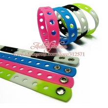 Free shipping Hot 14 styles 50pcs colorful 21cm silicone wristbands bracelets fit shoe charms fashion decoration children gifts(China (Mainland))
