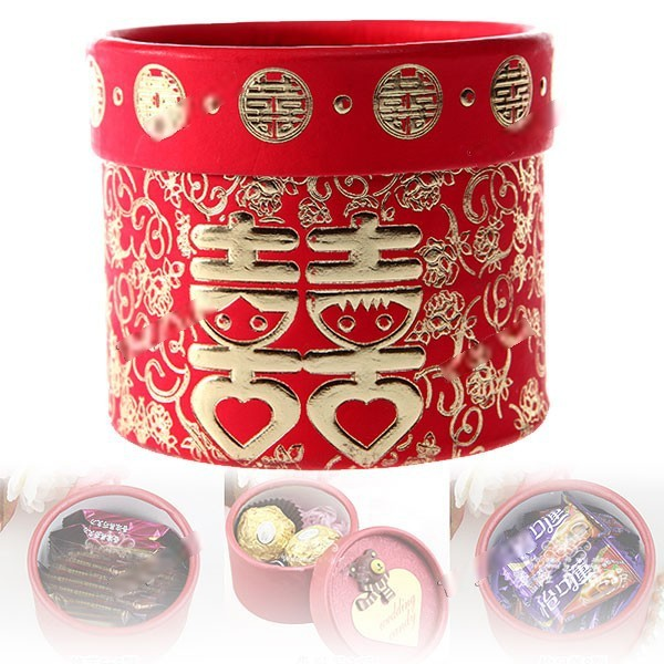 Simba Red Chinese Traditional Style Round Paper Cookie Candy Wedding Favor Treat Gift Box