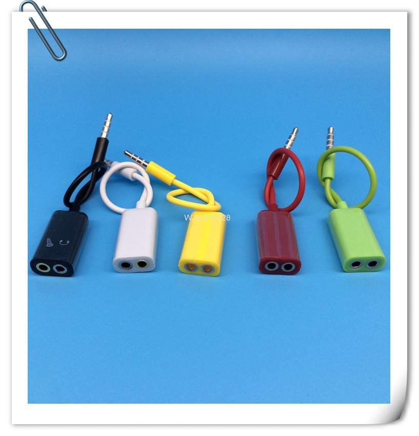 1 divides into 2 Transfer line usb cable,17.5 cm couple Audio cable,splitter audio cable(China (Mainland))