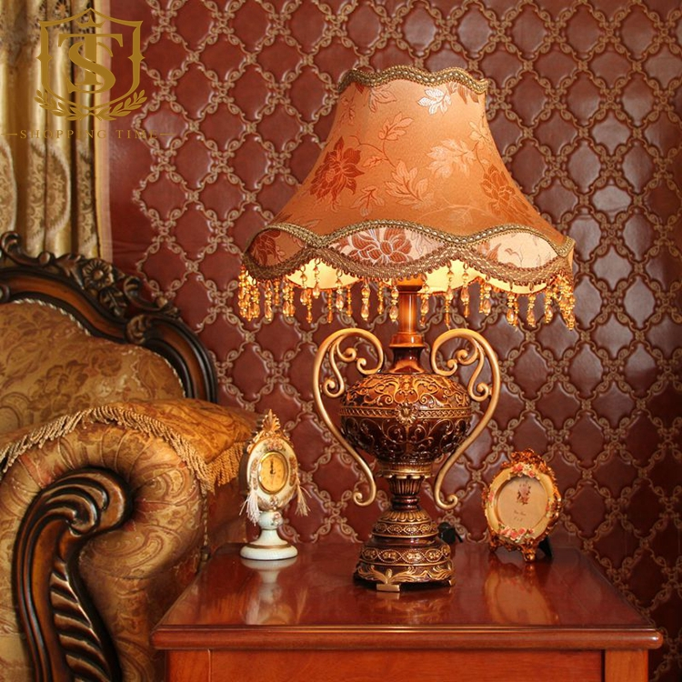Hot American Resin Table Lamp Led Fabric Shade Table Light Bedroom Reading Desk Lamp T8060(China (Mainland))