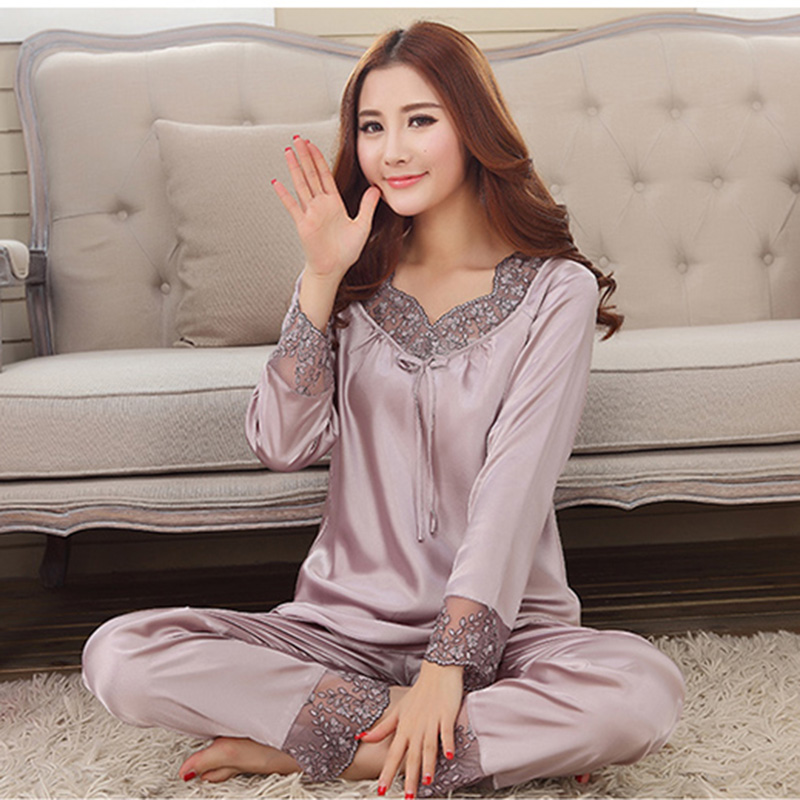 Women imitated silk long sleeves lace round collar nightgown,lady girl pink beige grey purple bow night clothes M-XXL nbhd 5017(China (Mainland))