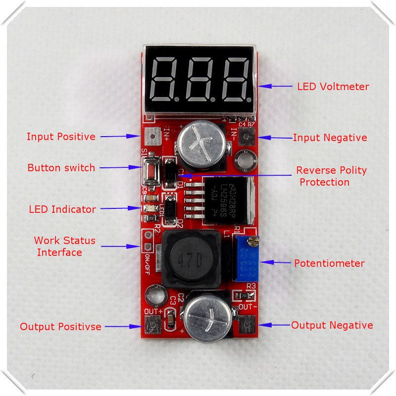 LM2596 DC-DC Adjustable Step-Down Power Supply Module buck converter Red LED display Voltmeter/ Button Switch [5 piece/lot] - RD official store