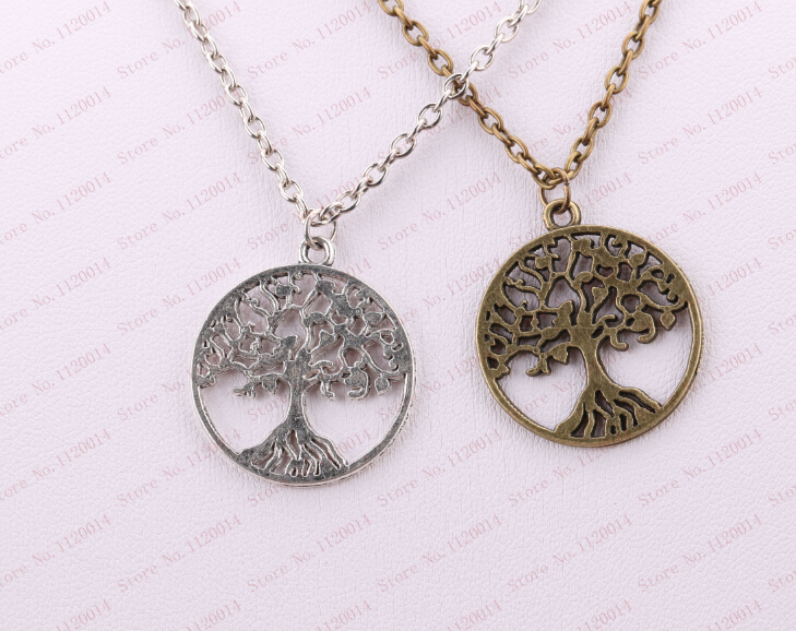 Fashion Vintage Statement Necklace&Pendant Ancient Bronze Silver Tree of Life Charm Women Men Chain Jewelry 2PCS(China (Mainland))