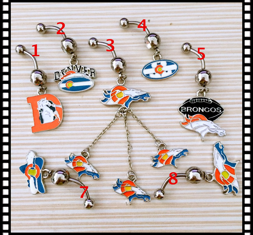 Denver Broncos Custom Mix Navel Piercing 316L Stainless Steel Belly Ring Body Jewelry Navel Belly Piercing(China (Mainland))