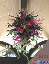 LR124--Free Shipping Hand Blown Pink Chandelier Lighting(China (Mainland))