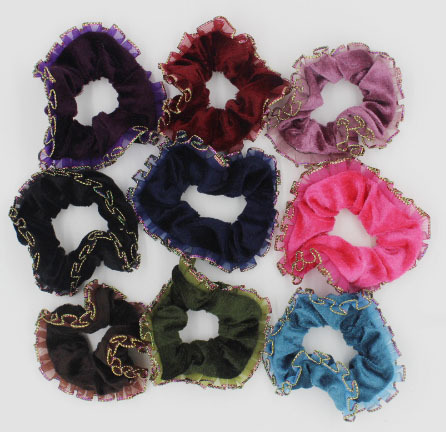 20PCS Free Shipping Gold rimmed velvet hair scrunchies Ponytail Hair Ties Ropes Elastic Hair Bands(China (Mainland))