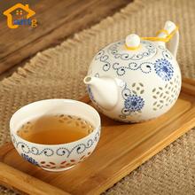 Exquisite Tea Set Bone China,Kung fu tea set for balck tea,Travel Ceramic Tea Set,One teapot & one cup(China (Mainland))