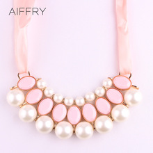 Necklaces Pendants Pearl Choker Collar Vintage 2015 Fashion Bead Rhinestone Chain Statement Necklace Women Jewelry Gifts