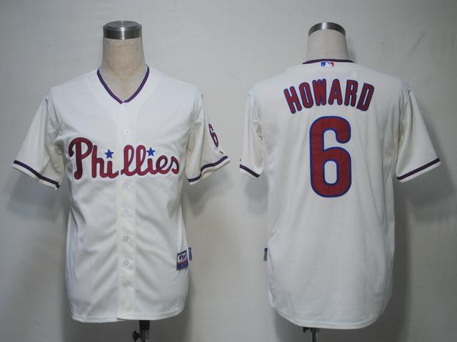 Cheap Mens Philadelphia Phillies Jersey #6 Ryan Howard White Baseball Jersey,embroidered Logo,accept retail mixed order 1894(China (Mainland))