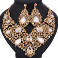 Free Shipping Fashion Trendy nigerian wedding African Beads Jewelry Sets Crystal Necklace Set Party Wedding Dubai