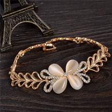Adjustable 18K Gold Plated Fashion Cat's eye Stone Butterfly Flower Heart Chain Bracelet Jewelry Many Style Picks Free Shipping(China (Mainland))