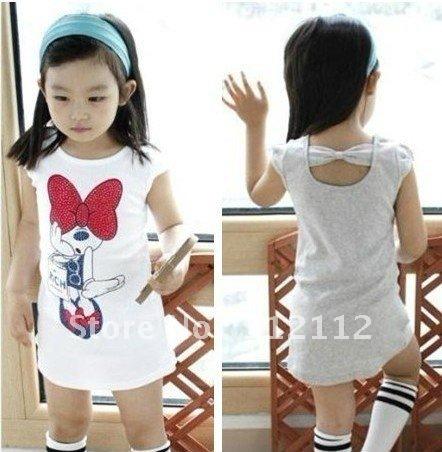 baby girls minnie design t-shirt baby sweet mini dress short sleeve t-shirt bow knot clothes soft t-shirt 5pcs/lot