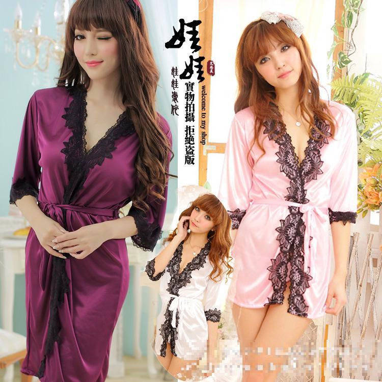 2016 New Fashion Nightwear Long Sexy Night Dresses Lace Robe Womens Sleepwear Nightgowns White Elegant 6