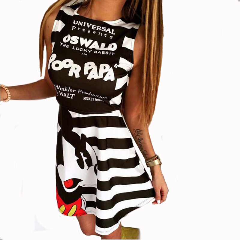 Robe ete 2016 Sleeveless Letters Cartoon Cute Angry Mouse Print Black White Striped Summer Elegant A Line Dress(China (Mainland))