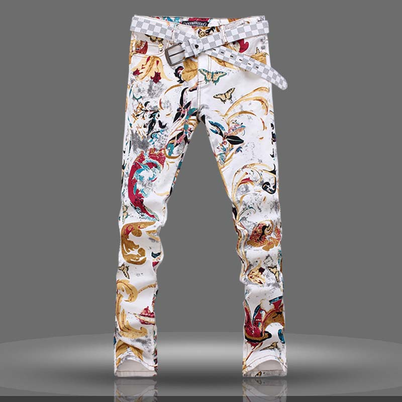 Free shipping New 2015 fashion men's Ink Chinese wind printing jeans male personality denim skinny pants men's slim washed jeans(China (Mainland))