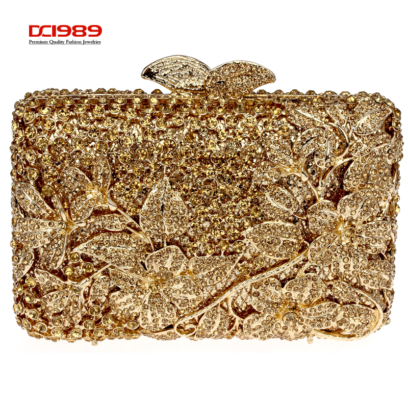 DC1989 Luxury Full Crystal Ladies Evening Clutches Light Topaz Women Party Hard Case Gold Color Handbags Shoulder Chain Gift Box(China (Mainland))