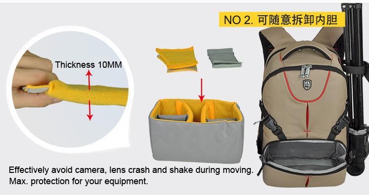 ถูก กันน้ำกระเป๋าเป้สะพายหลังกระเป๋ากล้องขนาดใหญ่สำหรับCanon Nikonกล้องSLRฝนหลักฐาน