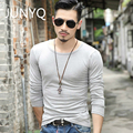 2017 men t shirts pure color long sleeve cultivate one s morality men T shirt collar