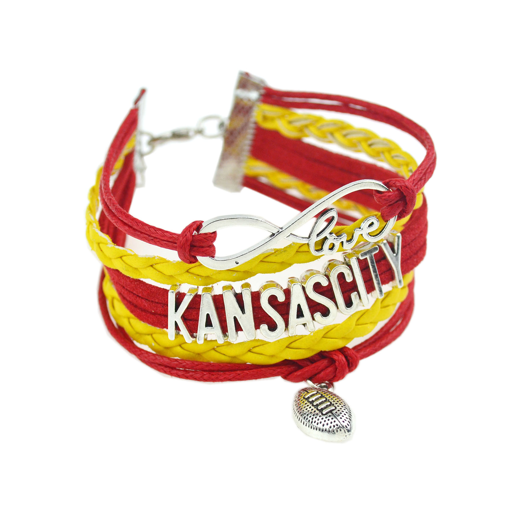 11 NCAA Teams Bracelet 2016 Newest Design American Football KANSASCITY USC Leather Bracelets & Bangles Fashion Man Jewelry(China (Mainland))