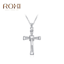 2015 ROXI brand fashion rose gold plated cross pendant necklaces for women, necklace set with Austrian Crystal for party gift(China (Mainland))