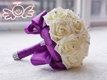 Rose Artificial Bridesmaid Flowers Wedding Flowers Bridal Bouquets Royal Blue Silk Ribbon Handmade Wedding Accessories(China (Mainland))