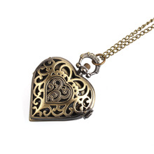 Buy Women's watch quartz pocket watch chain Retro Bronze Alloy Hollow Heart Pocket Necklace Watch Christmas Gift for $3.02 in AliExpress store