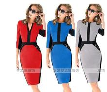 Buy New 2017 spring Winter VB Victoria Color Block Casual Pencil Dress Short-sleeve Knee Length Sheath Fashion Dresses for $22.34 in AliExpress store