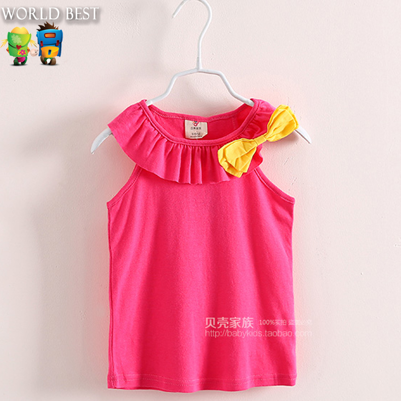2015 New Summer Style Baby Girls Clothing Girl T shirt Candy Color Girl T shirts Sleeveless Kids Tops Tees Vest In Girl Clothes(China (Mainland))