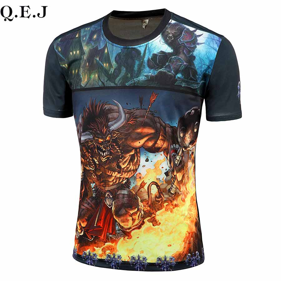 2016 summer Men's Monster T-Shirt 3D Digital Printed T-Shirts Men bape Funny High elastic compression tee shirt large size(China (Mainland))