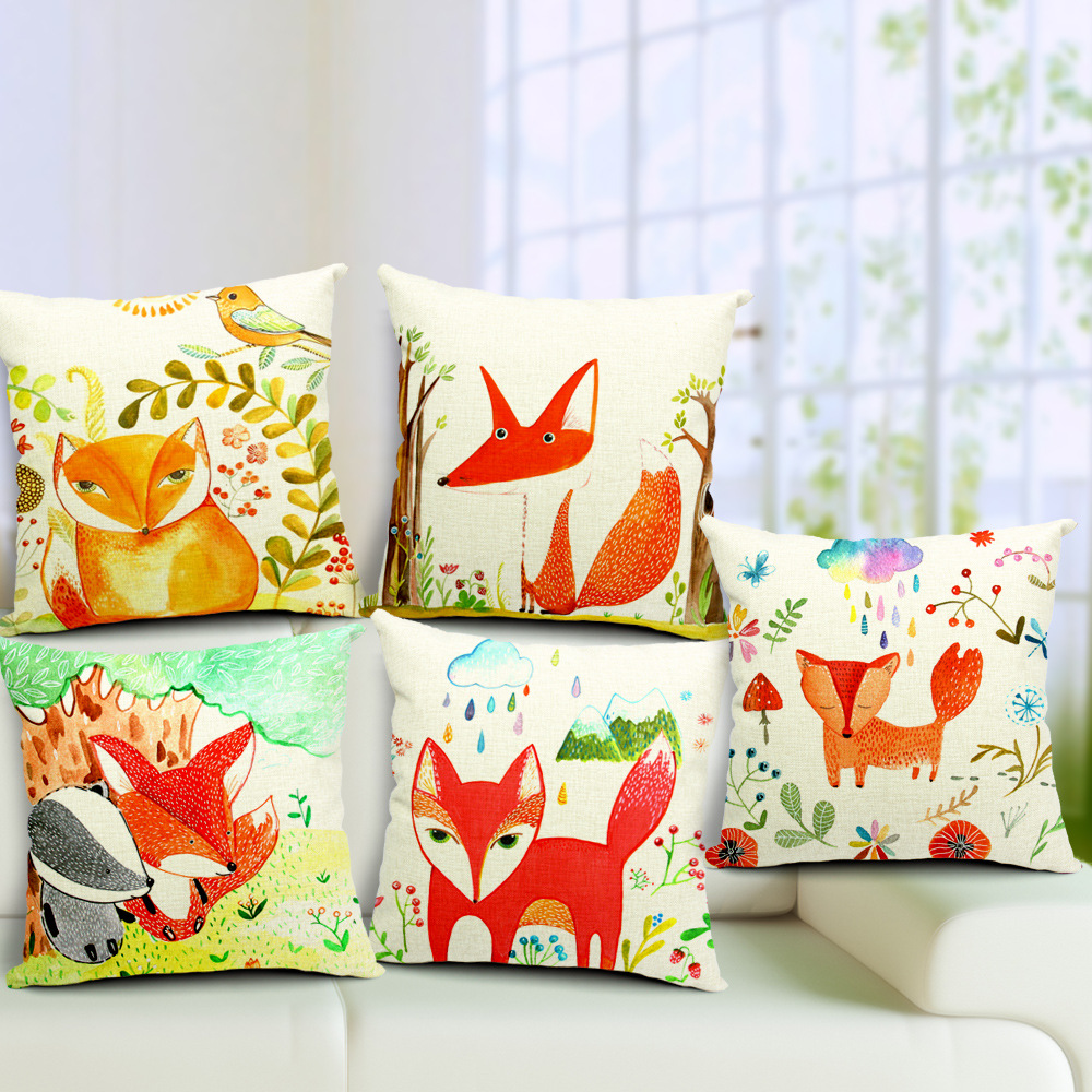 2016 red fox cushion without core custom cotton linen decorative throw pillows sofa chair cushions home