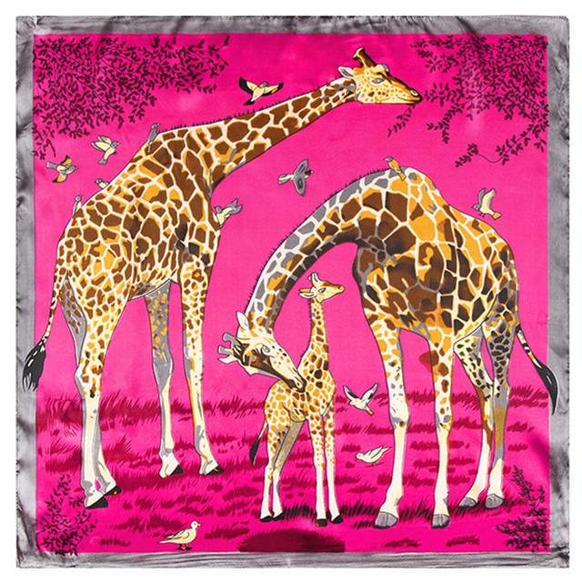 60 см * 60 см европейских и американских большой жираф животных печать шелковые женские небольшой площади шарф оптовая продажа шарфы