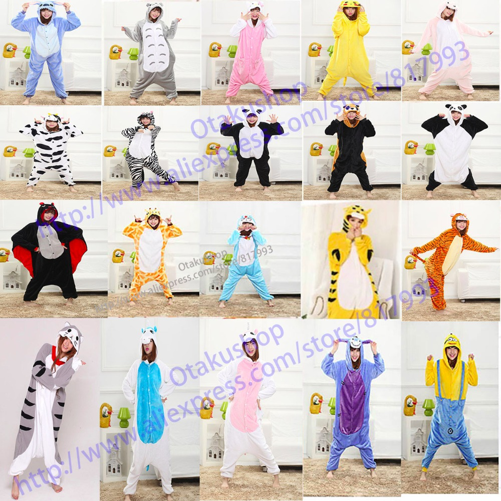 22 styles unisex Adults flannel animal Pajamas Panda Minion womens Sleep Tops cosplay Pijama Onesies Pyjamas Robe Kigurumi MujerОдежда и ак�е��уары<br><br><br>Aliexpress