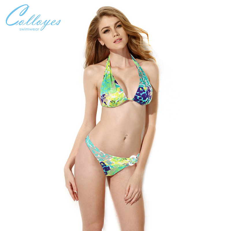 Colloyes 2016 New Sexy Greenish Yellow Floral Triangle Top with Classic Cut Bottom Bikini Swimwear in Low Price(China (Mainland))